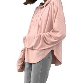 Heaven Days(ヘブンデイズ) ロンティー 長袖 Tシャツ カットソー ラウンドネック 無地 フード付 ボタン レディース 1804K0218