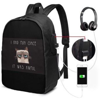 Xzdcvqwedadc 不機嫌そうな猫、面白い ヘッドフォンポート用17インチラップトップ付きUSB充電ポート付きコンピューターバックパック、旅行用デイリーバックパック、仕事用コンピューターバッグ、男女兼用