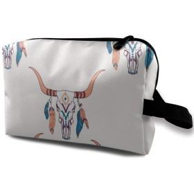 化粧ポーチ スカル 民族風 携帯用 化粧ポーチ 大容量 軽い 旅行ポーチ 洗面用具入れ 化粧ポーチ 収納 ハンドバッグ 財布 防水