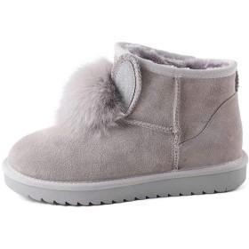 [Tenflow] ムートンブーツ ショートブーツ レディース ブーツ シューズ ボアブーツ フラット 冬靴 防寒 暖かい かわいい ポンポン(36(23cm) グレー)