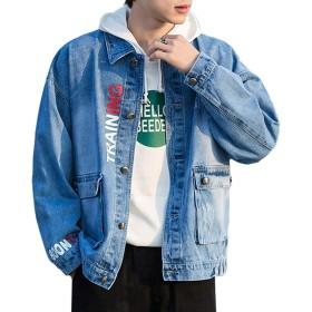 デニムジャケット メンズ ジージャン アウター 長袖 綿 通勤 Gジャン 大きいサイズ ヒップホップ ストリート原宿風 加工 メンズ 服 春秋冬 カジュアル ファッション (ブルー, 3XL=日本サイズXL)