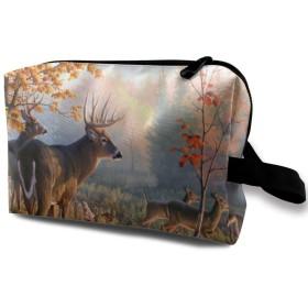 秋の自然鹿のシーン 化粧品袋 トラベルコスメティックバッグ 防水 大容量 荷物タグ付き 旅行収納ポーチ アレンジケース パッキングオーガナイザー 出張 旅行 衣類収納袋 スーツケース整理 インナーバッグ メッシュポーチ 収納ポーチ