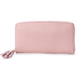 ペルケ perche リザード型押しラウンドファスナー長財布 (ピンク)