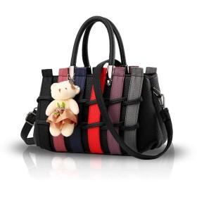 SISUCO 可愛い ハンドバッグ レディース 熊飾り 編みバッグ ショルダーバッグ 2WAY 斜めがけ 通勤 肩掛け 優雅 手提げバッグ 防水 PUレザー ブラック