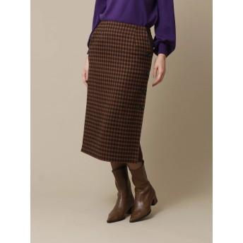 【6,000円(税込)以上のお買物で全国送料無料。】チェック柄ボタンデザインスカート