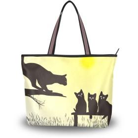 Chovy レディース トートバッグ メンズ 大容量 軽量 カバン 通勤 通学 A4 バッグ 高校生 中学生 アウトドア 旅行 肩掛け 手揚げバッグ ハンドバッグ 黒猫 ねこ 猫柄 かわいい 可愛い