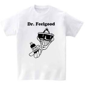 [10色]BANDLINE(バンドライン) Dr. Feelgood ドクター フィールグッド バンド ロック パンク メタル 半袖Tシャツ ホワイト Sサイズ
