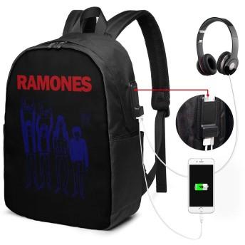 バックパック リュックサック ロック RAMONES USB 充電ポート 大容量 盗難防止 多機能 耐衝撃 旅行 通学 ビジネスリュック 負担軽減 男女兼用 登山 軽量 アウトドア スタイリッシュ