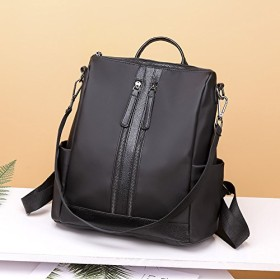 Women Backpack 新しい女性のバックパックファッションオックスフォード布バックパックUnsubdividedおざなり多機能バックパック (Color : Black, Size : M)