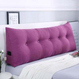 単色 ウェッジ枕 三角ヘッドボードクッション,シートクッション 背もたれ位置サポートベッド読書枕カバー 腰椎パッド-紫の 120x50x20cm(47x20x8)