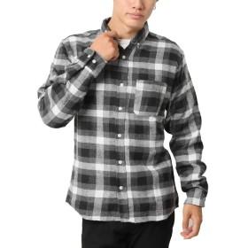 (アーケード) ARCADE ネルシャツ メンズ ボタンダウン チェックシャツ 無地 チェック 長袖シャツ メンズ カジュアルシャツ M ブラックトーンオントーン(チェック)