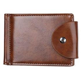 TYUKO ファッションメンズ忘れっぽいウォレットビジネスカードホルダーPUレザー超薄型財布掛け金マルチカードポジションマンコインパース (Color : Brown, Size : S)