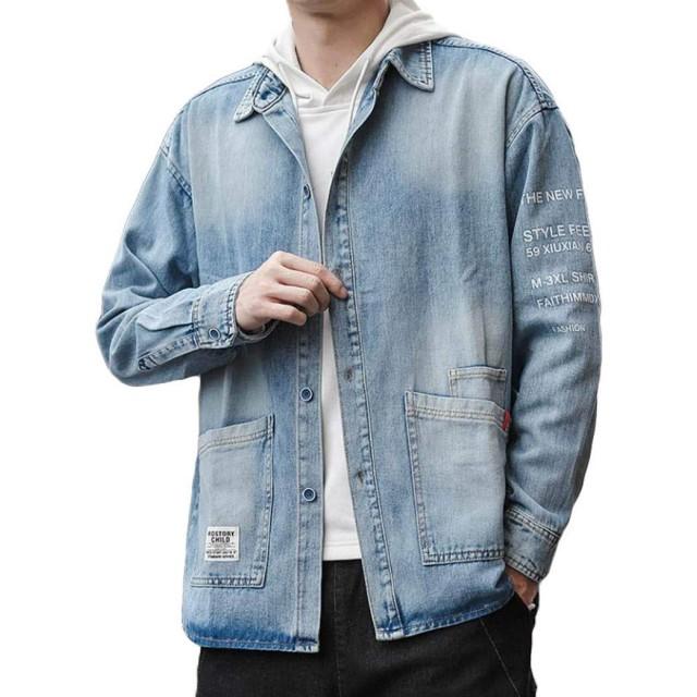 [YYQ-SHOP]デニムジャケット メンズ ゆったり ジージャン プリント柄 ポケット付き ファッション Gジャン カジュアル ヴィンテージ アウター オシャレ 大きいサイズ 秋(8ブルー)