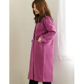 ロングコート - Re: EDIT 季節に映える大人の綺麗色コート ウールタッチノーカラーコート アウター/コート