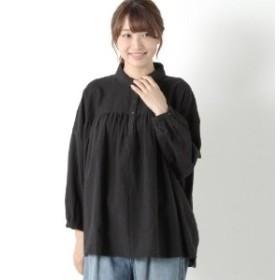綿麻胸ギャザー丸襟シャツ