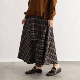 オゾック OZOC [洗える]チェック切替スカート (ディープネイビー)