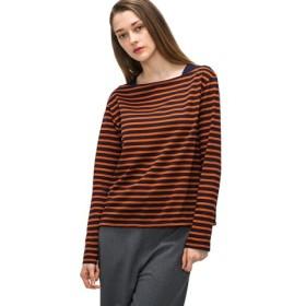 (LACOSTE/ラコステ)ボートネックボーダーバスクTシャツ(長袖)/レディース オレンジ
