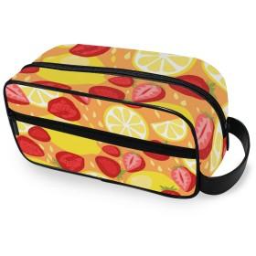 USAKI 化粧ポーチ トラベルポーチ レモン イチゴ オレンジ 小物入れ 機能的 大容量 おしゃれ コスメポーチ 化粧バッグ 化粧品収納 出張 旅行
