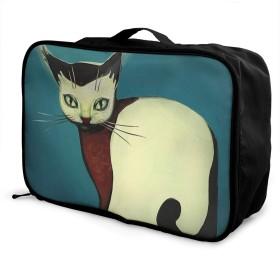 トラベルポーチ ボストンバッグ 収納バッグ ネコ 漫画 トートバッグ ガーメントバッグ 軽量 旅行グッズ ユニセックス 折りたたみ可能 スタイリッシュで便利