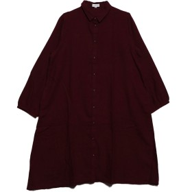 ベルーナ BELLUNA 綿100%ツイルシャツワンピース (レッド)