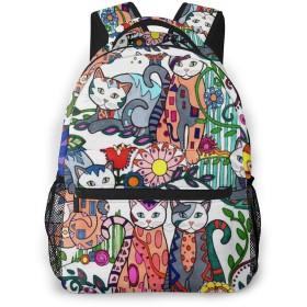 バックパック 猫の絵画 Pcリュック ビジネスリュック バッグ 防水バックパック 多機能 通学 出張 旅行用デイパック