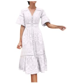 レディース レースドレス Vネック 半袖 透かし彫り シングルブレスト 着痩せ お洒落 チュニック