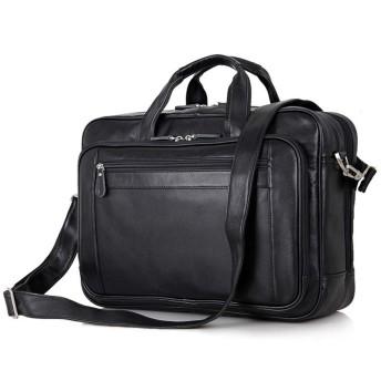 YIKETING メンズブリーフケースメンズコーヒーブリーフケースラップトップバッグメッセンジャー17ハンドバッグ(ブラック) (色 : 黒)