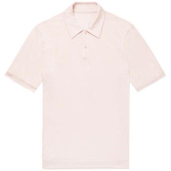 《セール開催中》SECOND SKIN メンズ ポロシャツ ライトピンク S シルク 100%