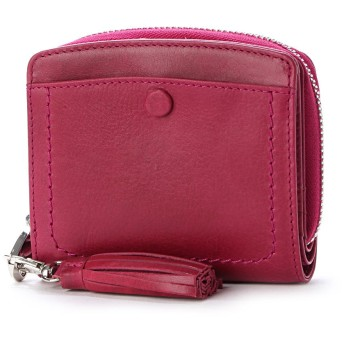 ペルケ perche インド牛革くるみホックラウンド二つ折り財布 (ピンク)