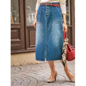 ベルーナ BELLUNA ボタン使い配色ステッチロングスカート (デニム)