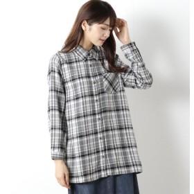 シャツ ブラウス レディース 綿混素材のビエラ起毛シャツ 「グレーオフ」