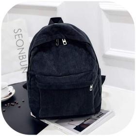 女の子のための女性のバックパックプレッピースタイルスクールバッグ柔らかい生地トラベルバックパックコーデュロイBookbagストライプ小型バックパック、ブラック