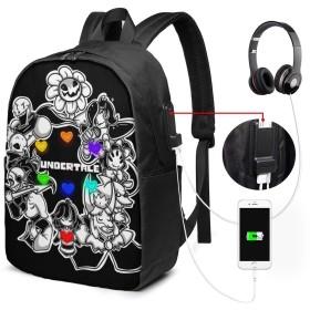 Undertale3 リュック PC ビジネスバックパック リュックサック大容量 ラップトップバック USB充電ポート付き 防水 通学 出張 旅行用 男女兼用 17インチ