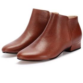 [NJI] ショートブーツ レディース ブーツ ライトブラウン ブーティ 履きやすい ピンヒール ヒール 3cm ブーティー ジップ ブーツ レディース ショート ローヒール 黒 白 ポインテッドトゥ チャンキーヒール デート 二次会 23.0cm パーティー ブーツ