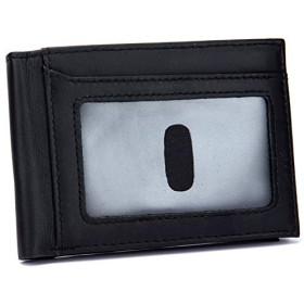 メンズバッグ 本革男スリム財布RFIDブロッキングクレジットカードホルダージッパーマネーコイン財布ポケットクラッチバッグ レザーバッグ (Color : Black, Size : S)