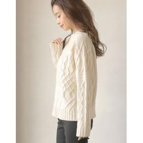 ニット・セーター - Re: EDIT 飾り編みがデコラティブなふんわりニット カシミヤタッチ編み地切替えニットトップス トップス/ニットトップス
