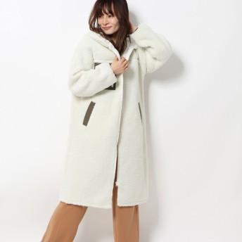 ジーラ GeeRA 【WEB限定】ロングボアフーディーコート (アイボリー系)