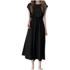 レディース カジュアル ドレス 無地 ラウンドネック 袖なし ビームウエスト 大きな スイング ロングドレス チュニック