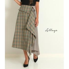 【セール開催中】ANAP(アナップ)配色チェックアシメフレアースカート