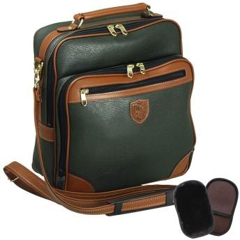 平野鞄 豊岡職人の技 国産 ショルダーバッグ メンズ 斜めがけ 縦型 旅行 ビジネス A4 27cm +ムートングローブ (カーキ)