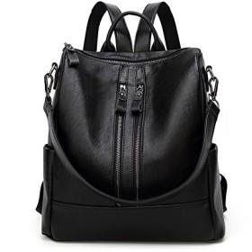 Women Backpack 新しい女性のバックパックカジュアルバッグ大荒れソフトレザー著名な容量トラベルバックパック (Color : Black, Size : M)