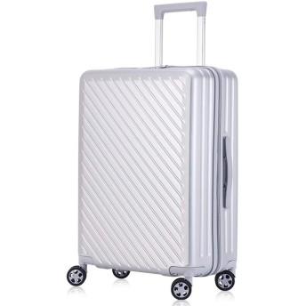 Langxj hj スーツケース キャリーバッグダブルキャスター 二年安心保証 機内持込 ファスナー式 人気色 超軽量 TSAローク 3008(L, シルバー)
