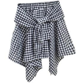 フレアミニ腰巻風 スカート 不規則 チェック レディース タータンチェック柄コットン シャツ風ドレス (H)