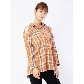 セシルマクビー CECIL McBEE 肩あきチェックシャツ (マスタード)