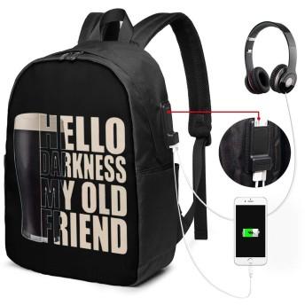 リュック バックパック リュックサック ビジネスバッグ ショルダーバッグ ビールと友人 イヤホンポート付き USB充電ポート付き 旅行バッグ ラップトップバック 男女兼用 大容量 多機能 防水加工 盗難防止 耐衝撃 手提げ