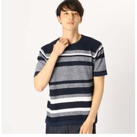 SALE開催中【COMME CA ISM:トップス】吸水速乾 ボーダーニットTシャツ