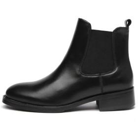 [AJGLJIYER LTD] 黒 歩きやすい 23.5cm 太ヒール 大きいサイズ ショートブーツ 厚底 アンクルブーツ レディース ブーティ ショートブーツ アイテム レディース ヒール レザー ショートブーツ ブラック ブーティー靴 黒()