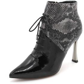 [イノヤシューズ] ショートブーツ レディース ヒール ブーティー 蛇柄 女性用 ピンヒール 美脚 24.0cm 歩きやすい 黒 ブラック ハイヒール 小さいサイズ 靴 疲れにくい 走れる アンクルブーツ ポインテッドトゥ 通勤 オフィス