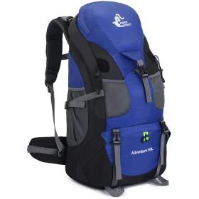 ハイキング運動のための登山袋50Lの大容量アウトドアリュック,青