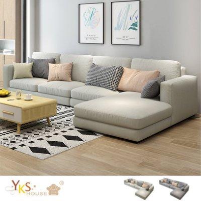 YKS 莉亞L型布沙發 獨立筒版 兩色